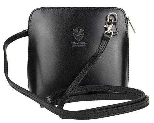 Girly HandBags Genuine Leather Rigid Cross Body Shoulder Bag Real Italian - Black