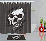 gwregdfbcv Halloween Horror Skull Set tenda per doccia Nero Bagno in Tessuto Tende da bagno Tenda per doccia Gancio Gratuito 12 180X180 CM Tappetino da bagno 40X60CM