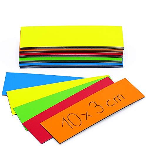 5 x magneetstrips op kleur gesorteerd I magneetband om te markeren op whiteboards magazijnrekken kalender I magnetische etiketten 10 x 3 cm multicolor