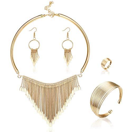 Milacolato Statement Bib Necklace with Metal Fringe Drop Choker Necklace Earrings Set Fashion Bohemian Punk Ethnic Style for Women