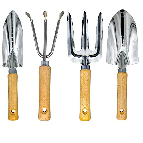 GeToo Garden Tools Set - 4 Piece Heavy Duty Gardening Kit Included Ergonomic Hand Trowel,Transplant Trowel, Cultivator Hand Rake and Planting Fork with Wood Handle, Gift for Men Or Women.