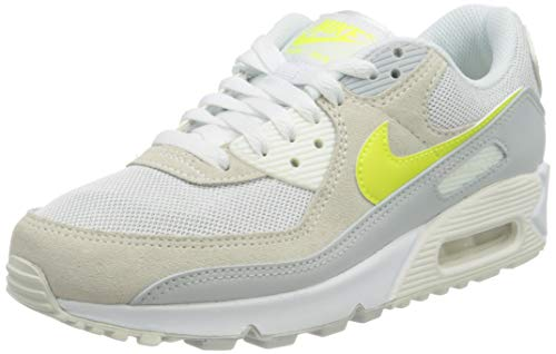 Nike Damen WMNS Air Max 90 Laufschuh, White/Lemon Venom-Pure Platinum-sail, 40 EU