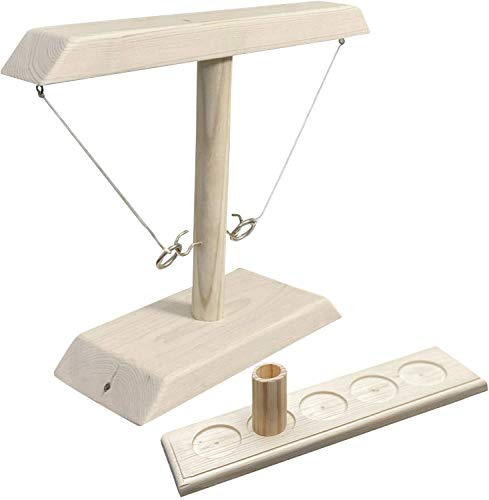 Hooks Ring Toss Juego de Beber, Ring Toss con Escalera de Tiro, Paquete para niños Adultos, Mesa, Anillo, Botella, Juego de diversión Familiar para Interiores y Exteriores (Blanco)