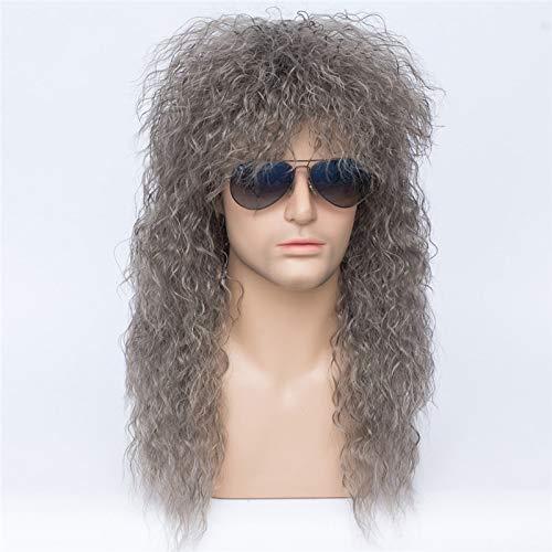Peluca de Cosplay rizada larga Kinly para hombre, pelo blanco sinttico para fiesta de Halloween, peluca de disfraz + gorro de peluca