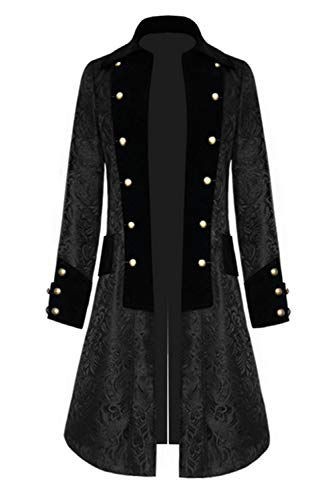 OEAK Vintage Herren-Mantel Print Langarm Frack Stehkragen Mode Smoking Jacke Gothic Gehrock Uniform Kostüm Praty Trenchcoat Windbreaker Steampunk Graben Outwear