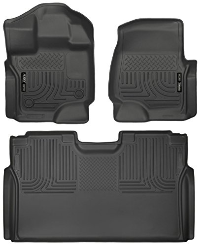 Husky Liners 2015-2017 Ford F-150 Floor Liners Full Set (Includes 1st and 2nd Row) Fits Supercrew (CrewCab) Models Only (Black)