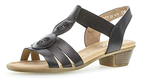 Gabor 22.474 Damen Sandalen,Riemchensandale, Frauen,Sandalette,Sommerschuh,Absatz,Comfort-Mehrweite,schwarz,6.5 UK