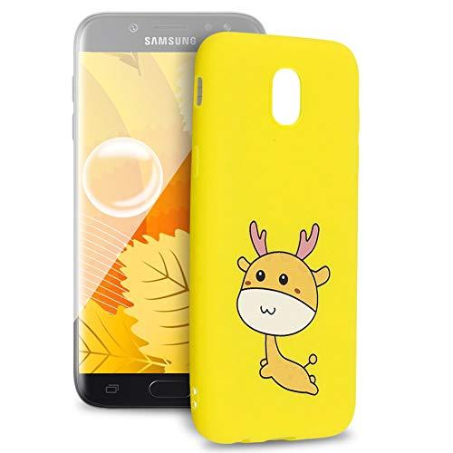 Huphant Kompatibel mit Samsung Galaxy J5 2017 Hülle, Silikon Handyhülle für Samsung Galaxy J5 2017 Case Stoßstange Gemaltes Tier Non-slip Anti-gelb Ultradünn Silikon Case -Hirsch
