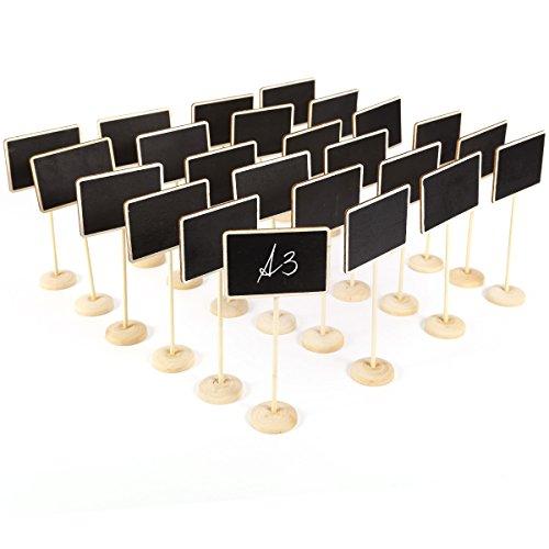 Anladia 24 Holz Kreidetafel Mini Tafel Aufsteller Ständer zum Beschreiben als Platzkarte Tischnummer Tischkarte Einstellung Dekoration Hochzeit Buffet Schilder