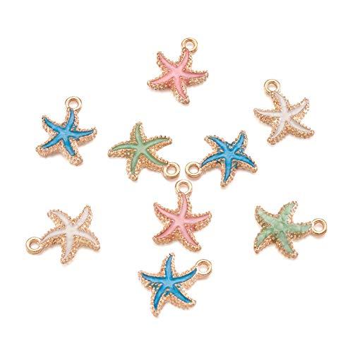 Beadthoven 50pcs Starfish Alloy Enamel Charm Pendants Light Gold Sea Star Dangle Charm Beads for DIY Jewelry Making Ocean Style Supplies