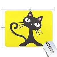 ユキオ(UKIO) マウスパッド おしゃれ 防水 滑り止め かわいい 使いやすい 北欧 クロネコ 黄色 女性 リストレスト マウス PCアクセサリ 男性