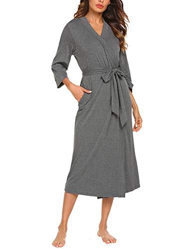 Unibelle Damen Morgenmantel Lange Ärmel Bademantel Kimono Baumwolle Saunamantel V-Ausschnitt Nachtwäsche Dunkelgrau S