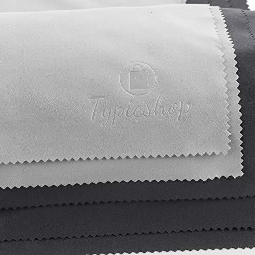 Typicshop Paños de Microfibra - Trapo de Limpieza 190GSM con Bolsa de Cremallera Reutilizable - Atrapa el Polvo - Limpiador para Cristales, Lentes y Pantallas (3 Negro y 2 Gris - 30x30cm)