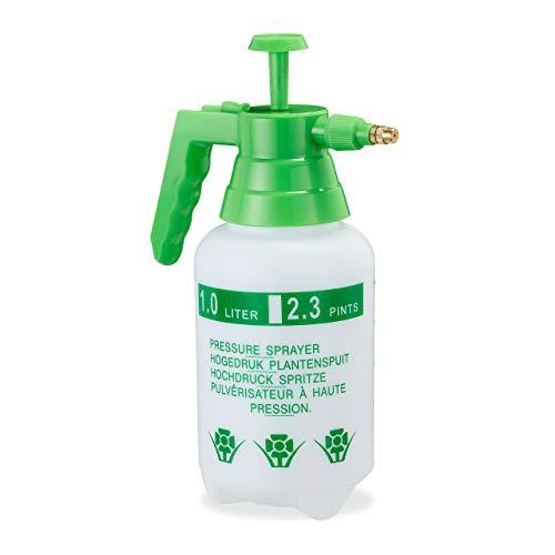 Relaxdays Pulverizador Agua Presión, Boquilla Ajustable, Vaporizador para Plantas, Jardín, 1 l, 1 Ud, PE-Latón, Verde