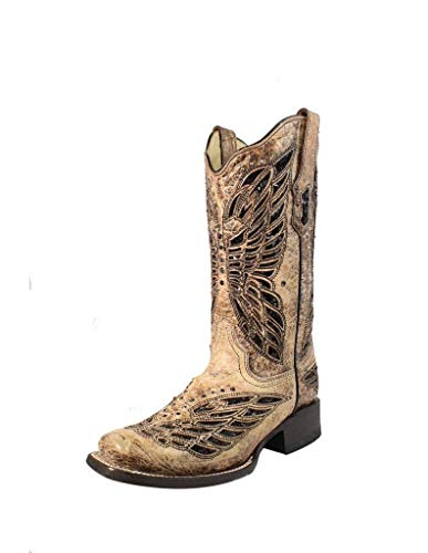 Corral Women's Butterfly Sequin Inlay Cowgirl Boot Square Toe Tan 6 M US