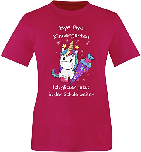 EZYshirt® Bye Bye Kindergarten ich Glitzer jetzt in der Schule   Einschulung Schulanfang 2021 Einhorn T-Shirt Kinder