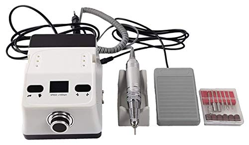 ASDFGH Professionelle Nagelbohrmaschine, 65W Elektrische Maniküre-Set, Nageldateien Pediküre-Kit Poliermaschine, für Acrylnägel Pflege Set, mit Fußpedal (Color : White)