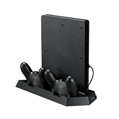 Qumox - Base de Carga y Ventilador de refrigeración para PS4 Slim