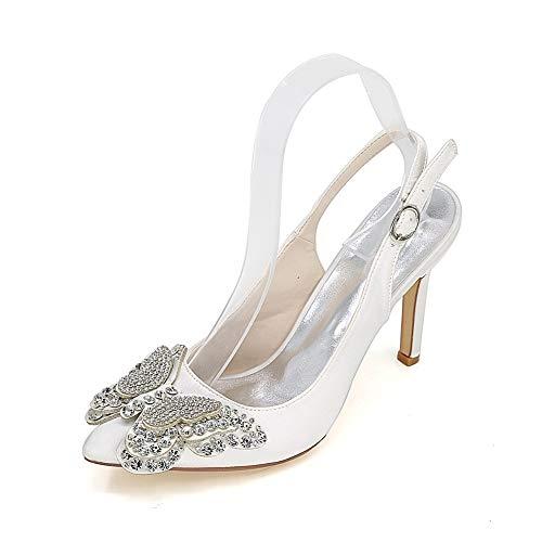 Cómodos Tacones Altos Zapatos De Boda Satén Novia Dama De Honor Zapatos Slingback Fiesta Zapatos De Noche para Mujer Sandalias De Boda,Blanco,36 EU