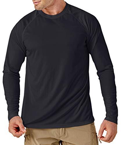 MAGCOMSEN Herren Sportshirts Performance Langarm T-Shirt Einfarbig UPF 50+ Funktionsshirt Herren UV Schutzkleidung Quick Dry Laufshirt Regular Fit Trainingsshirt für Sport Schwarz 3XL