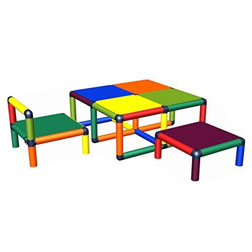 move and stic Vanny Sitzgruppe bestehend aus Kindertisch, Kinderstuhl und Hocker I erweiterbar, ausbaubar I Tischhöhe 35 cm LxB 0,85x0,85 cm für Kleinkinder