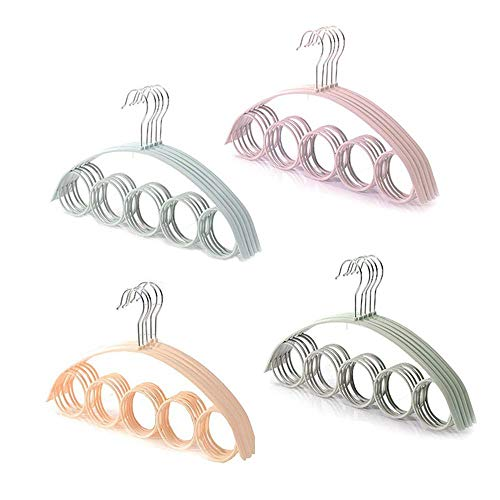 HCHC Hangers 5 Hole Ring Rope Slots Holder HookScarf Wraps Shawl Storage Hanger Ring Ties Hanger Belt Rack Scarves Organizer Holder