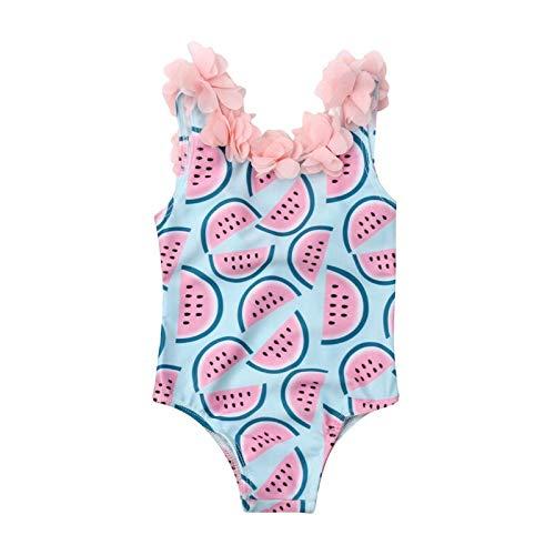 xiaofeng214 El niño Infantil de los bebés sandía Traje de baño de una Sola Pieza del Traje de baño Floral Traje de natación de Verano del Bikini Linda (Color : Blue, Size : 12M)