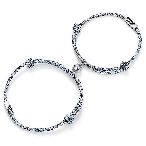LOYALLOOK Couple Magnetic Bracelet Set Mutual Attraction Rope Braided Charm Pendants Bracelet Couple Gift Jewelry Set for Women Men