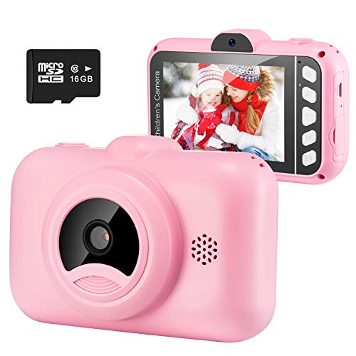 Engpure Kids Selfie Camera Gifts for Boys Girls, 1080P 3.5inch HD Digital Camcorder with Mp3 for 3-9 Years Old Children Birthday Christmas, Best Preschool Toys for Toddlers (with 16G TF Card,Pink)