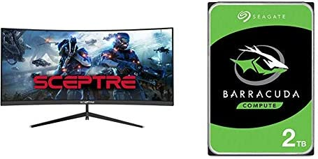 Sceptre 30-inch Curved Gaming Monitor 21:9 2560x1080 Ultra Wide Ultra Slim HDMI DisplayPort up to 200Hz Build-in Speakers, Metal Black (C305B-200UN)