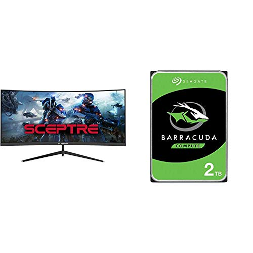 Sceptre 30-inch Curved Gaming Monitor, Metal Black & Seagate Barracuda 2TB Internal Hard Drive HDD – 3.5 Inch SATA 6Gb/s 7200 RPM 256MB Cache 3.5-Inch – Frustration Free Packaging (ST2000DM008)