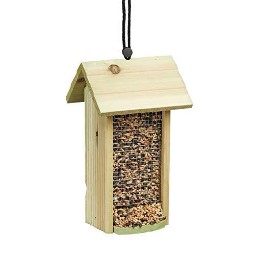 Relaxdays Vogelfutterhaus zum Hängen, Aus Holz, Ohne Ständer, HBT: ca. 26 x 15 x 15 cm, Vogelhaus