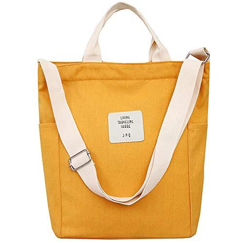 WANYIG Casual Handtasche Damen Chic Schultertasche Canvas Henkeltasche Schulrucksack Groß Umhängetasche Tasche Crossbody Bag Shopper (Gelb)