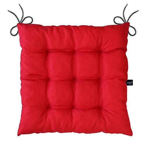 LILENO HOME 6er Set Stuhlkissen Rot (40x40x6 cm) - Sitzkissen für Gartenstuhl, Esszimmerstuhl oder Küche - Bequeme UV-beständige Indoor u. Outdoor Stuhlauflage als Stuhl Kissen