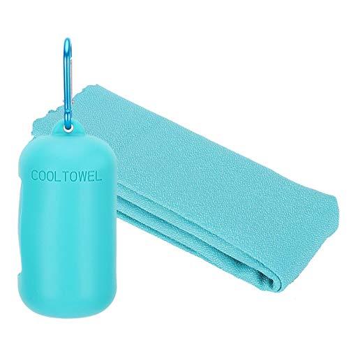 Okuyonic Toalla de Microfibra para Acampada portátil de Secado rápido Ultra Absorbente Toalla de Microfibra para montañismo(Light Blue)