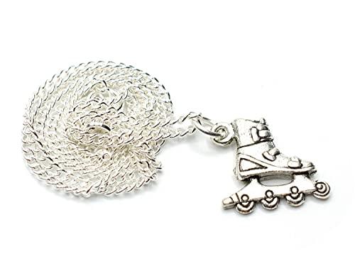 Miniblings Cadena de eslabones de Plata Patines de Rodillos Patines 45cm Patines en línea Patines de Rodillos de Plata - joyería Hecha a Mano Moda