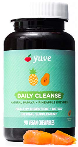 Yuve Natural Papaya Digestive Enzymes - Sugar-Free Chewable Candies - Promotes Better Digestion - Constipation & Bloating Aid, Detox, Leaky Gut Repair & Gas Relief - Vegan, Non-GMO, Gluten-Free - 90ct