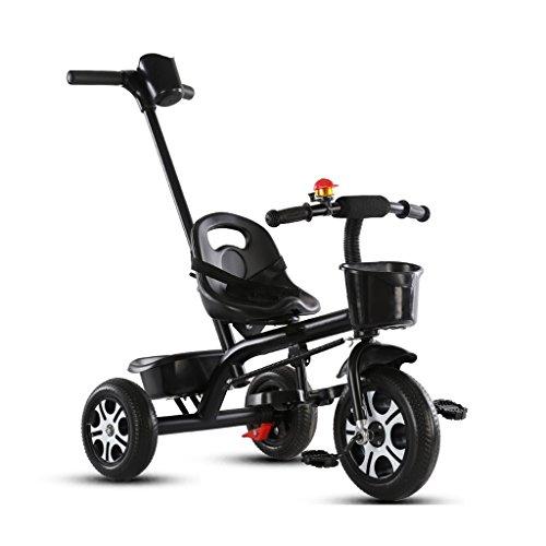 XXW Cochecito De Bebé Material de Acero de Alto Carbono Triciclo para niños Creativo Desmontable Altura Ajustable Mango Empuje Niño Bicicleta Carrito de Bebé Carro (Color : Black)