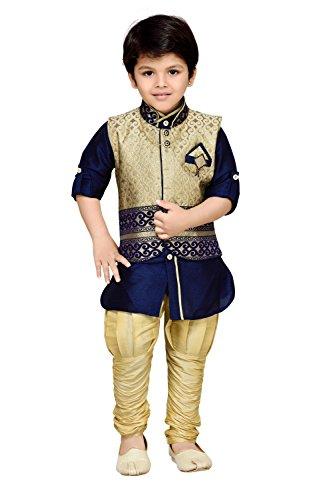 AJ Dezines Kids Ethnic Wear Kurta Pyjama Waistcoat Set for Boys (636_BLUE_3)