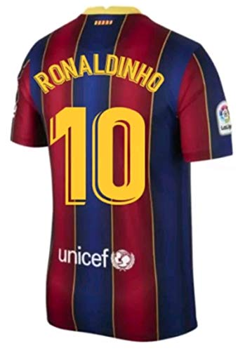 Kids/Youths Sportswear 2020/2021 Season Home Soccer T-Shirts Jersey/Short/Socks (Barcelona Ronaldinho #10(10-11years/size26)) Blue/Red