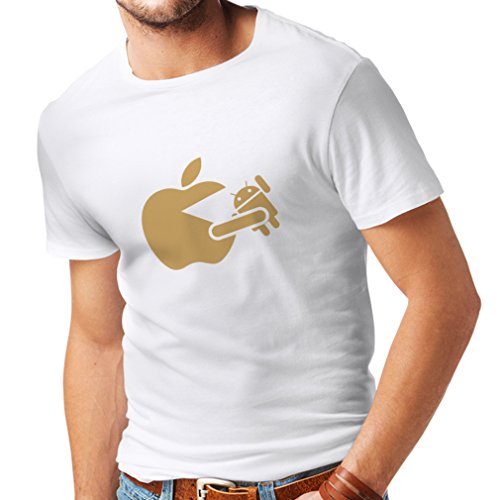 Männer T-Shirt Lustiger Apfel isst einen Roboter - Geschenk für Tech-Fans (Large Weiß Gold)