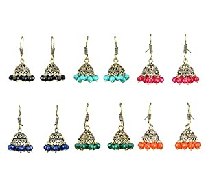 Yellow Chimes Combos Lively Colors Golden Silver Oxidised Traditional Stud ChandBali Jhumka Earrings for Women and Girls