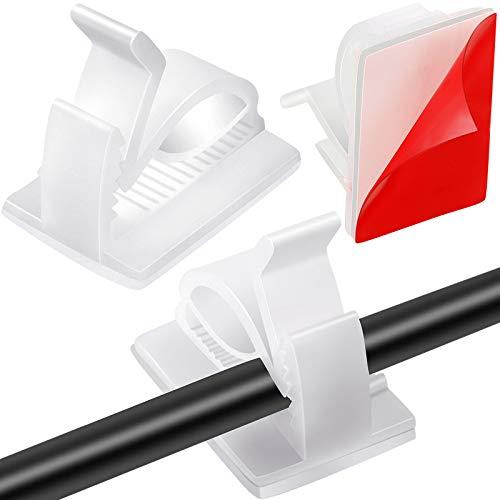 120 Stück Mini Outdoor Kabelclips mit Klebebändern Selbstklebende Haken Drahthalter Lichter Clips Dekoration Clips für Lichterketten (Groß, Weiß)