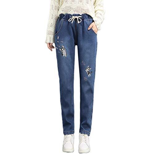 Crystallly broek vrouwen Fashion Elegant meisjes losse vrije tijd jeans vrouw pluche dikke herfstbroek