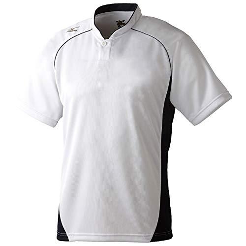 ミズノ(MIZUNO) グローバルエリート ベースボールシャツ・小衿・ハーフボタン 12JC6L11 01 ホワイト/ブラック O