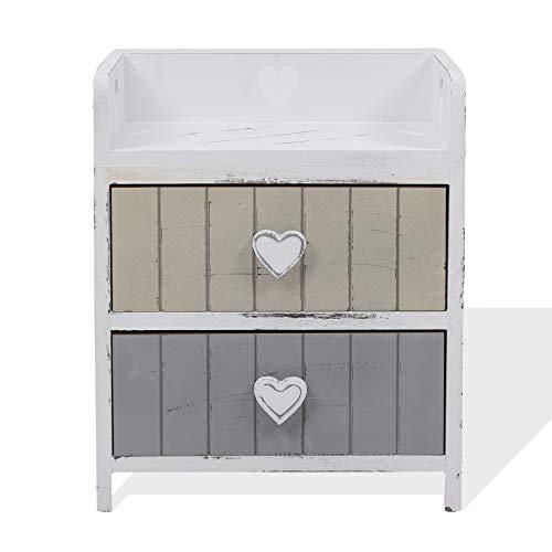 Rebecca Mobili Comodino shabby chic, mobile bagno 2 cassetti, legno paulownia, beige grigio, camera bagno - Misure: 44 x 35 x 27 cm (HxLxP) - Art. RE4376