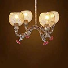FEE-ZC 4-Lights Industrial Vintage Rustic Steampunk Chandeliers Metal Iron Waterpipe Retro Ceiling Pendant E27 Edison Antique Lamp Restaurant Bar Cafe Chandelier #1
