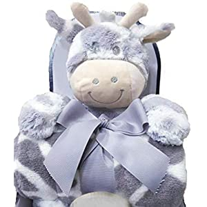 Caterliebe Baby Blanket, with Plush Toy, Soft and Comfortable Baby Blanket for Boys and Girls, Baby Blanket Unisex, Suitable for Toddler or Kids, with a Moo moo Cow Plush Toy, Grey