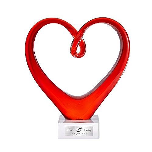 Casa Vivente Herz aus Rotem Glas, Leonardo Skulptur mit Personalisierter Plakette, Gravur von 2 Namen, Datum und 2 Ringen