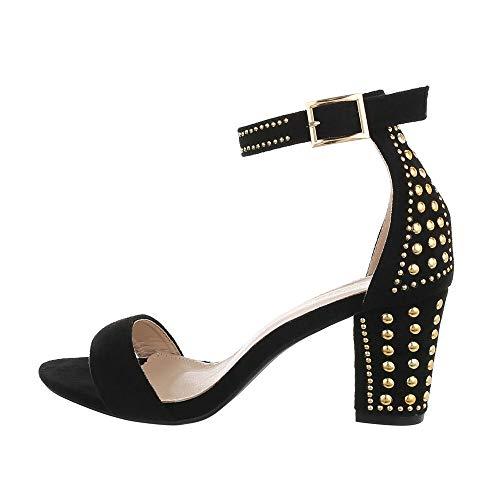 Ital-Design Damenschuhe Sandalen & Sandaletten High Heel Sandaletten, L1322-, Kunstleder, Schwarz, Gr. 38